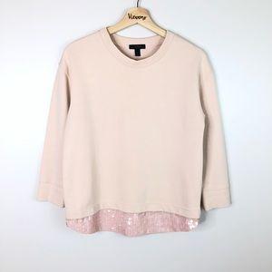 J.Crew l Sweatshirt Blush Pink Sequin Hem XS